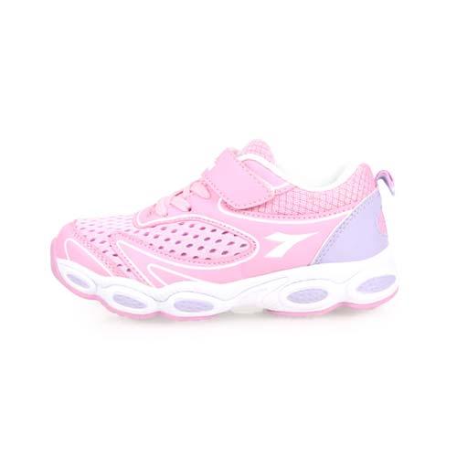 (童) DIADORA 男女中慢跑鞋-路跑 訓練 魔鬼氈 鞋 粉紅淺紫