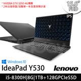 Lenovo聯想 Y530 15.6吋/i5-8300H四核/1TB+128G SSD/GTX1050獨顯/Win10電競筆電(81FV0049TW)