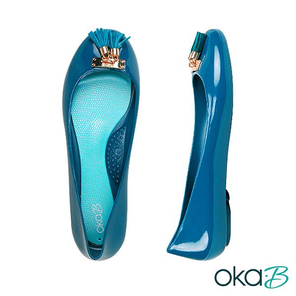 【Oka-B】EASTON流蘇配飾芭蕾平底娃娃鞋/包鞋  藍色(K056EA-NA)