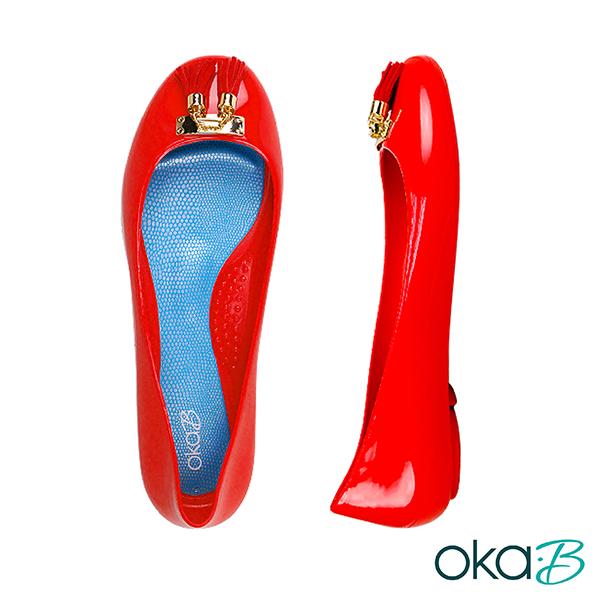 【Oka-B】EASTON流蘇配飾芭蕾平底娃娃鞋/包鞋  紅色(K056EA-RE)