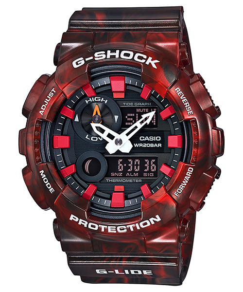 G-SHOCK 系列 潮汐衝浪酒紅大理石紋路 個性雙顯男錶 GAX-100MB-4ADR