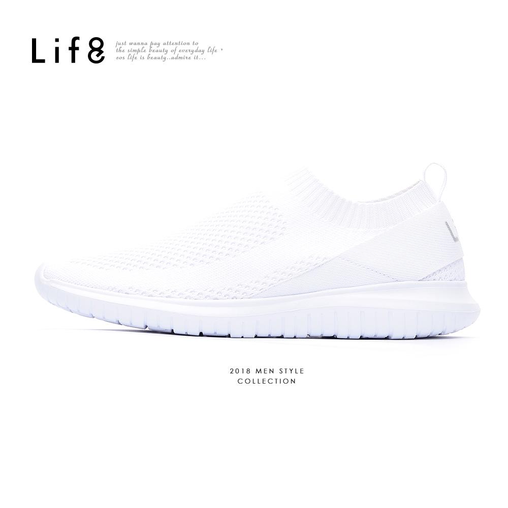 【Life8】Sport 織帶翻玩 襪套運動鞋-09874-白色