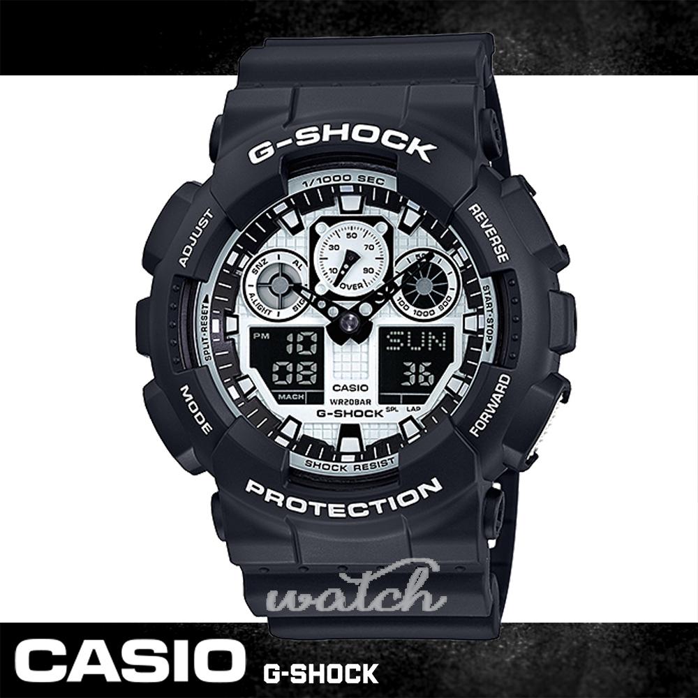 CASIO 卡西歐 全黑狂潮 剽悍上市 個性雙顯男錶 GA-100BW-1ADR