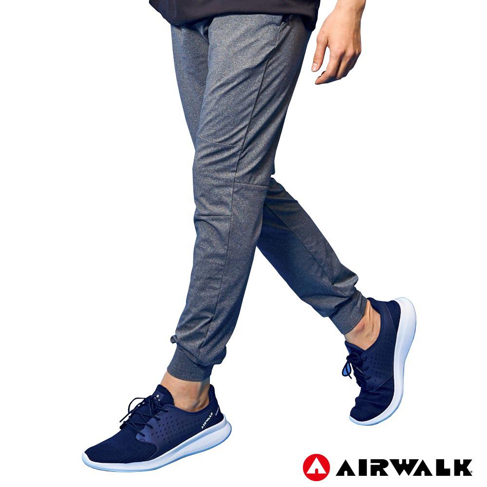 【AIRWALK】男款運動剪接長褲 - 中灰