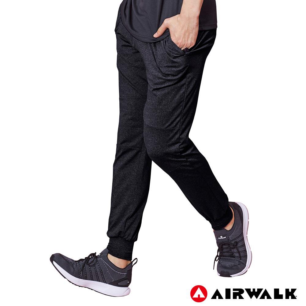 【AIRWALK】男款運動剪接長褲 -黑色