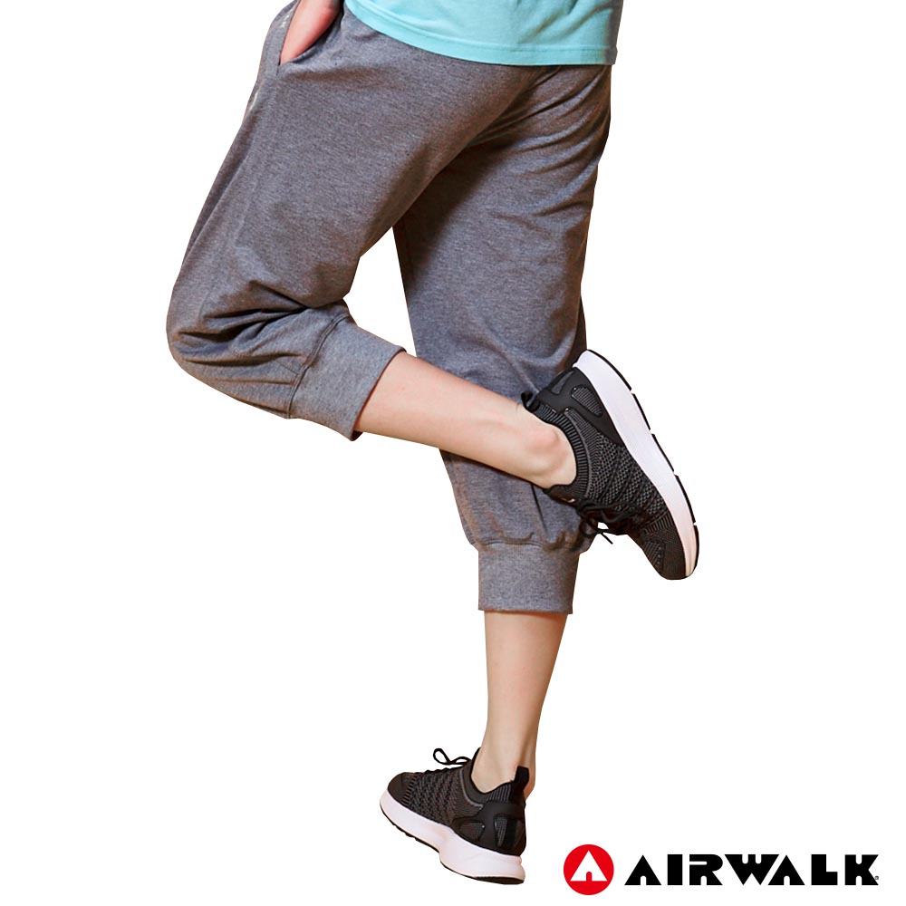 【AIRWALK】女款七分棉褲 - 麻灰