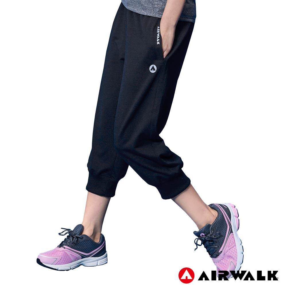 【【AIRWALK】女款七分棉褲  - 黑色