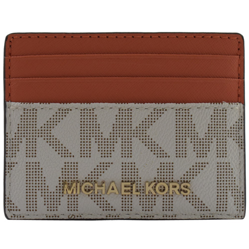 MICHAEL KORS 金字LOGO MK滿版PVC信用卡名片夾.白/橘