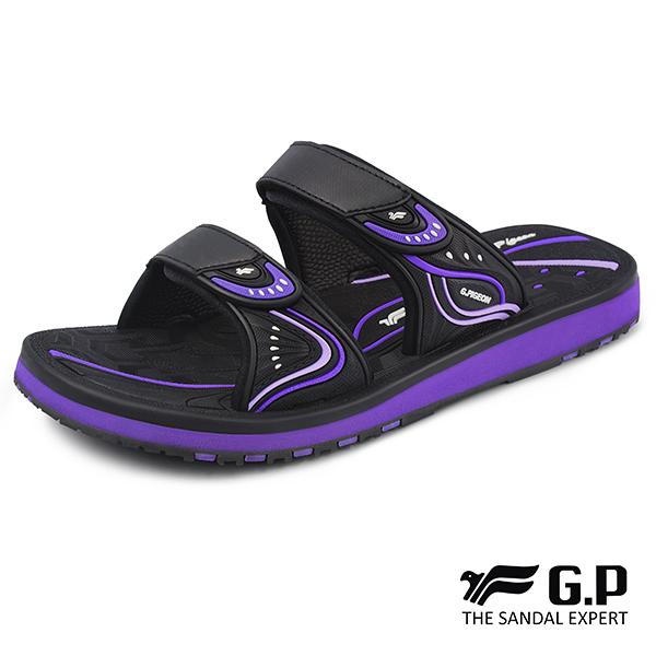 【G.P 女款親子系列高彈性舒適雙帶拖鞋】G8548BW-紫色(SIZE:33-39 共三色)
