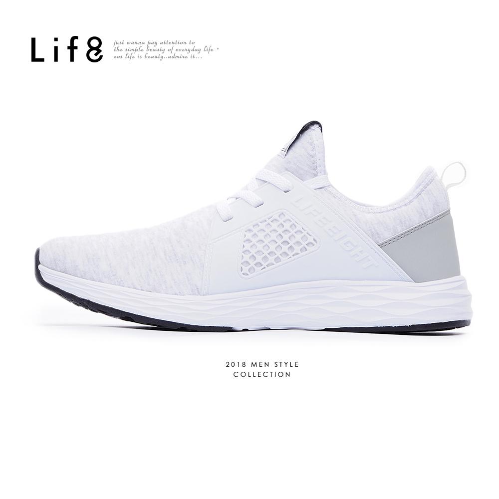 【Life8】Sport 超輕量 高彈力布 疾風運動鞋-09864-白色