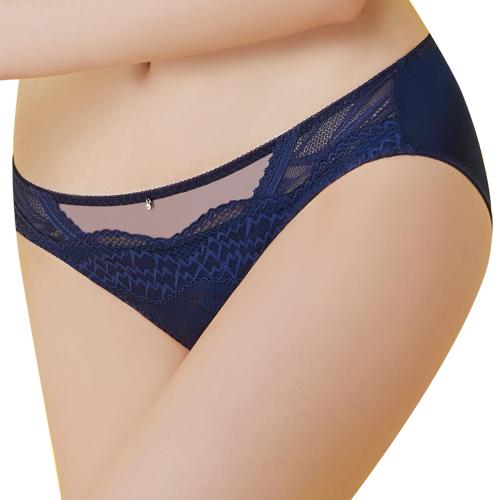 【思薇爾】啵時尚系列M-XXL蕾絲中低腰三角內褲(海藍色)