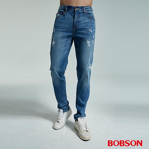 BOBSON   男款低腰有機棉刷破直筒褲  (1827-53)