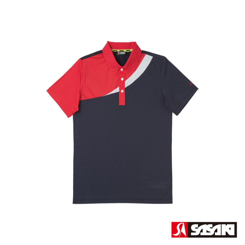 SASAKI 高彈力吸濕排汗功能運動短衫-男-丈青/紅