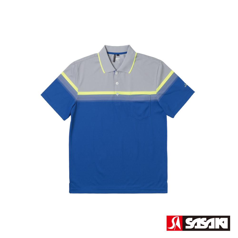 SASAKI 抗紫外線速乾吸排功能高爾夫球短衫-男-寶藍/灰