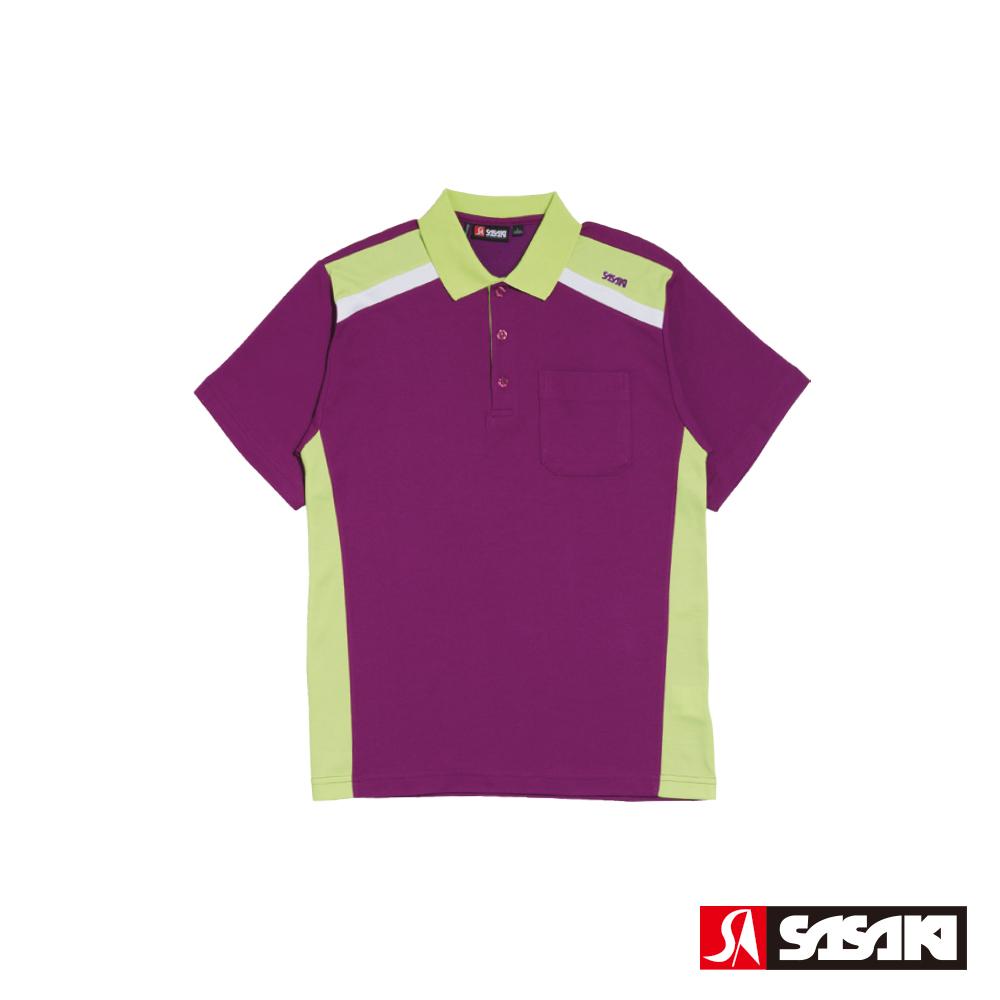SASAKI 棉質吸濕排汗功能運動休閒短衫-男-深葡萄紫/果綠