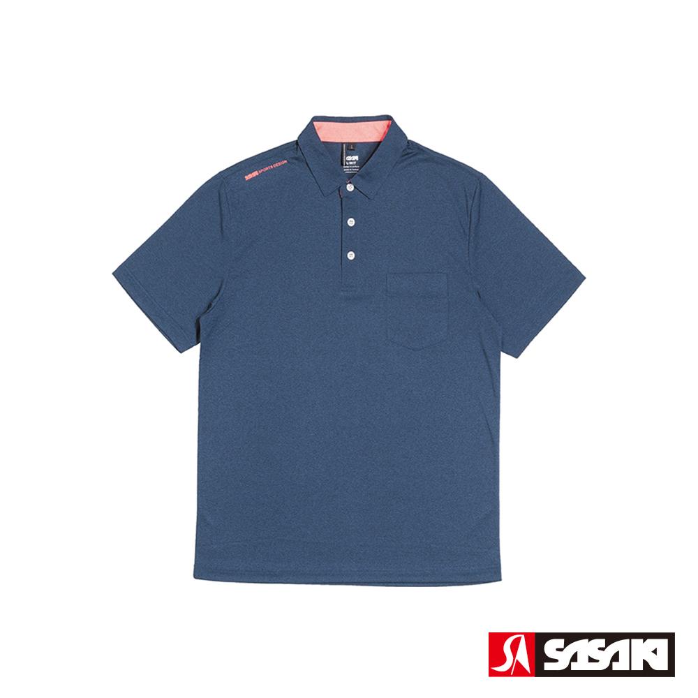 SASAKI 抗紫外線速乾吸排功能休閒POLO短衫-男-底特律藍/豔桔