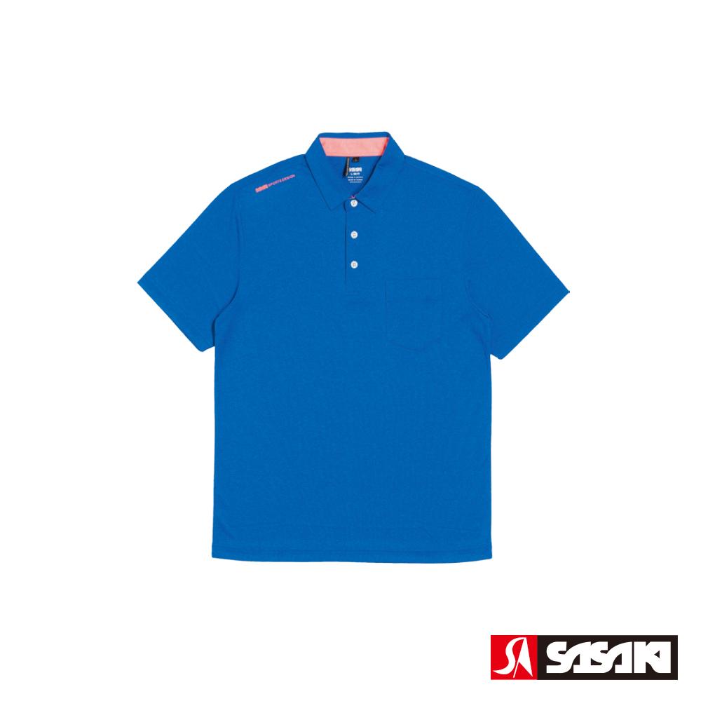 SASAKI 抗紫外線速乾吸排功能休閒POLO短衫-男-雷霆藍/豔桔