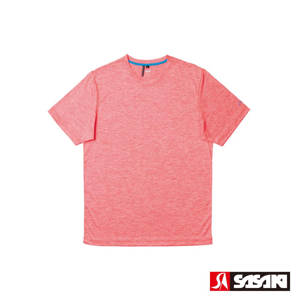 SASAKI 抗紫外線速乾吸排功能休閒圓領短衫-男-豔桔/科技藍