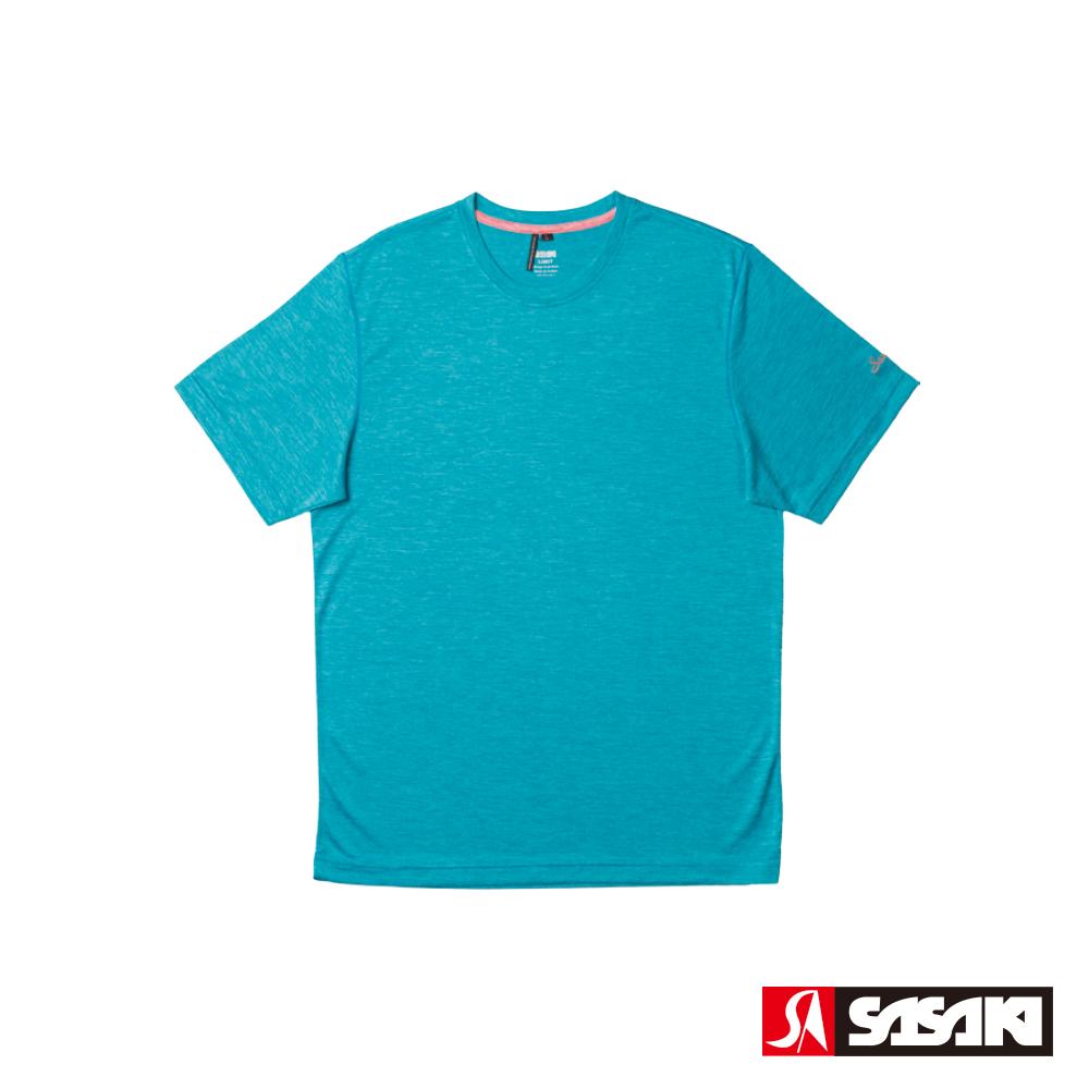 SASAKI 抗紫外線速乾吸排功能休閒圓領短衫-男-科技藍/豔桔