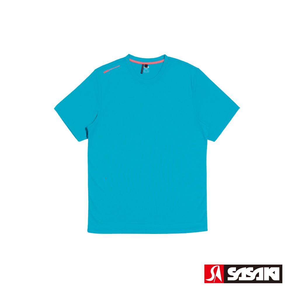SASAKI 抗紫外線速乾吸排功能休閒圓領短衫-男-孔雀藍/豔桔