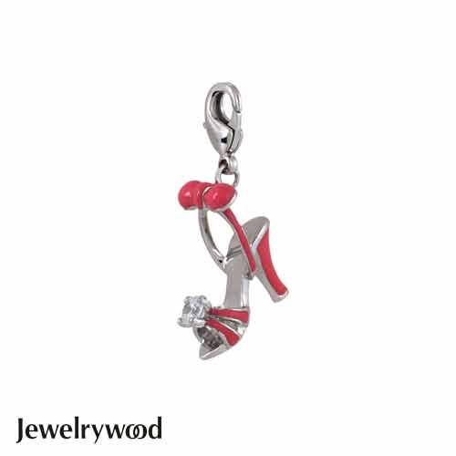 Jewelrywood 粉紅蝴蝶結水鑽高跟鞋吊墜