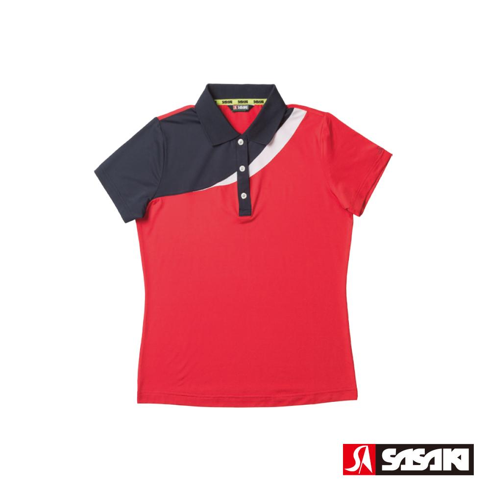 SASAKI 高彈力吸濕排汗功能運動短衫-女-紅/丈青