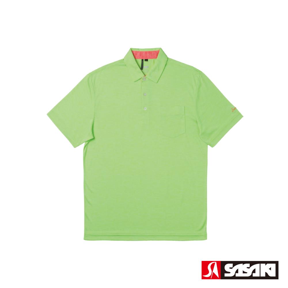 SASAKI 抗紫外線速乾吸排功能休閒POLO短衫-男-豔綠/豔桔