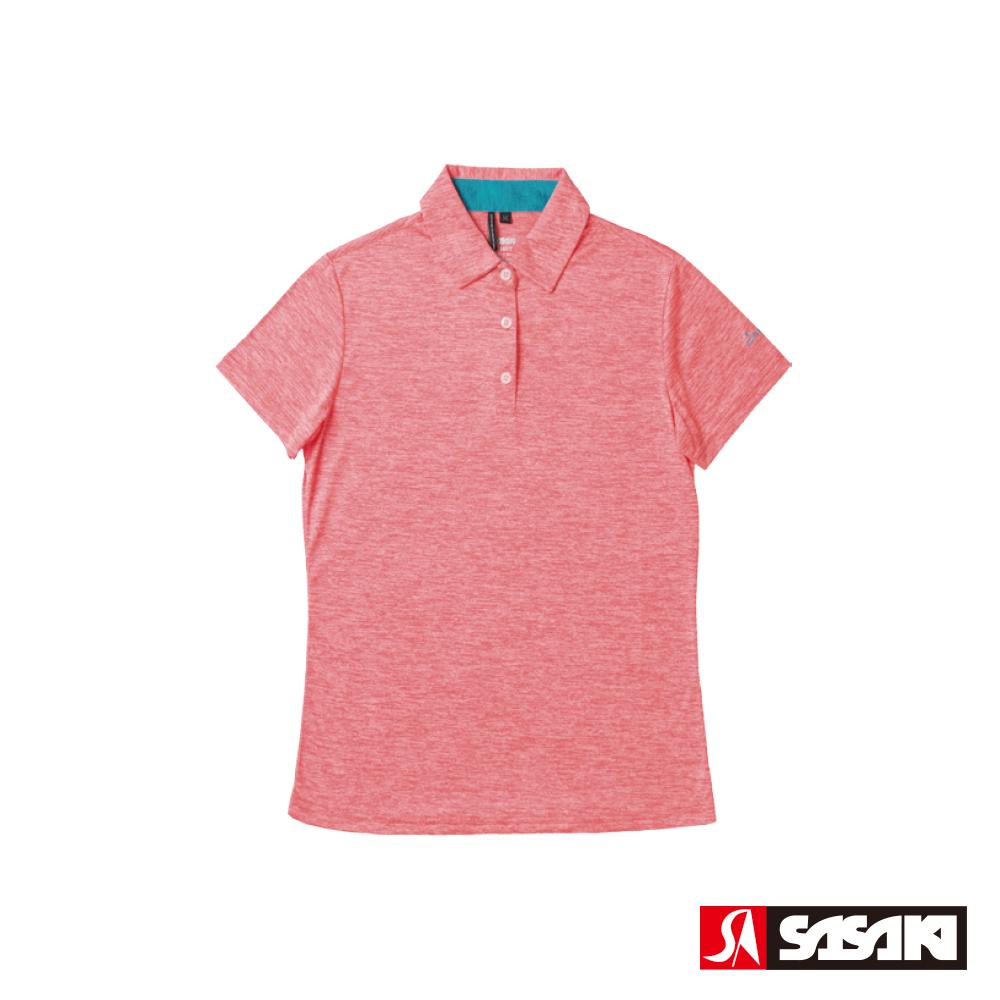 SASAKI 抗紫外線速乾吸排功能休閒POLO短衫-女-豔桔/科技藍
