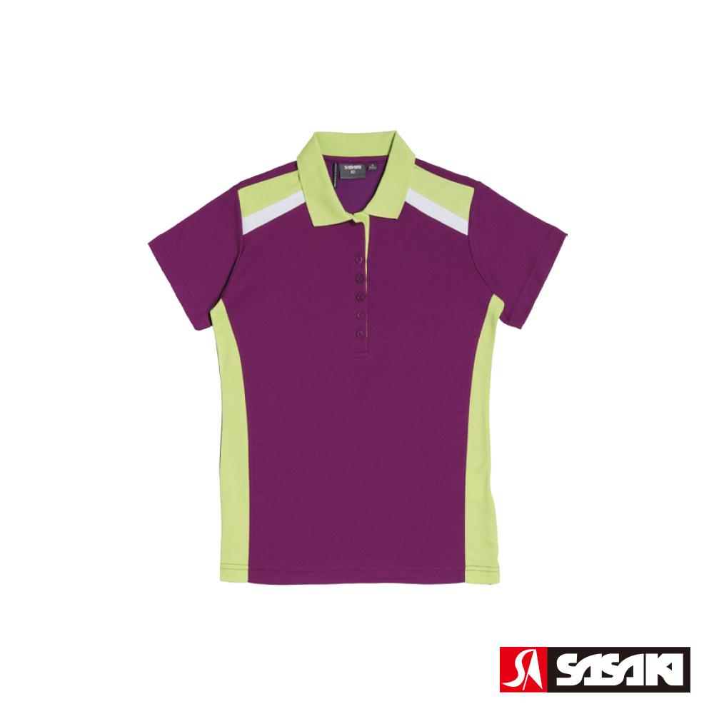 SASAKI 棉質吸濕排汗功能運動休閒短衫-女-深葡萄紫/果綠