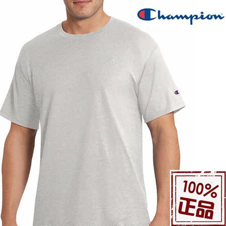冠軍Champion 刺繡LOGO短棉T恤淺灰色