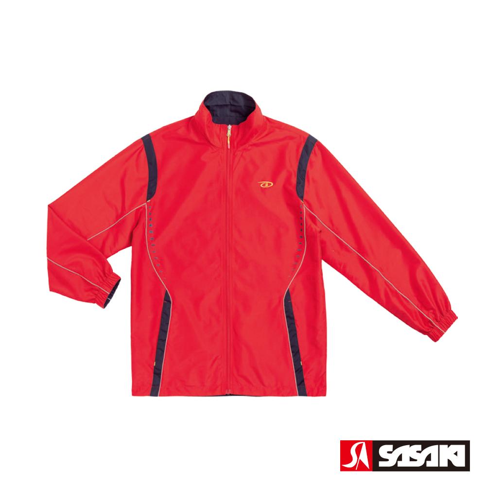 SASAKI 夜間反光防潑水功能平織運動夾克(雙面穿)-男-石榴紅/丈青