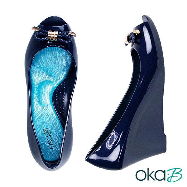 【Oka-B】IDA蝴蝶結配飾露趾魚口楔型高跟鞋  藍色(K1022ID-NA)