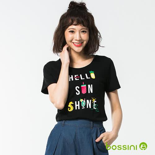 bossini女裝-印花短袖T恤57黑