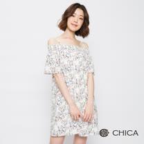 CHICA 玩味童趣貓咪圖騰細肩平口洋裝(2色)
