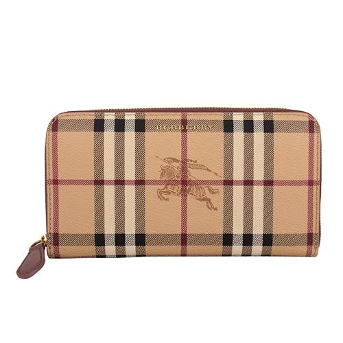 BURBERRY-  經典Haymarket 格紋皮革ㄇ型拉鍊長夾-粉紫邊(防塵套)