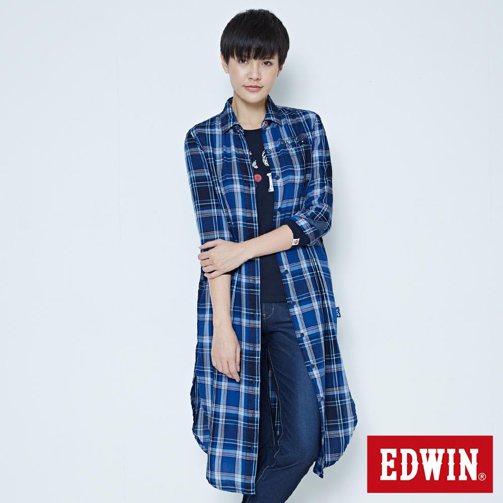 EDWIN 江戶勝 側開叉格紋長版襯衫-女-酵洗藍