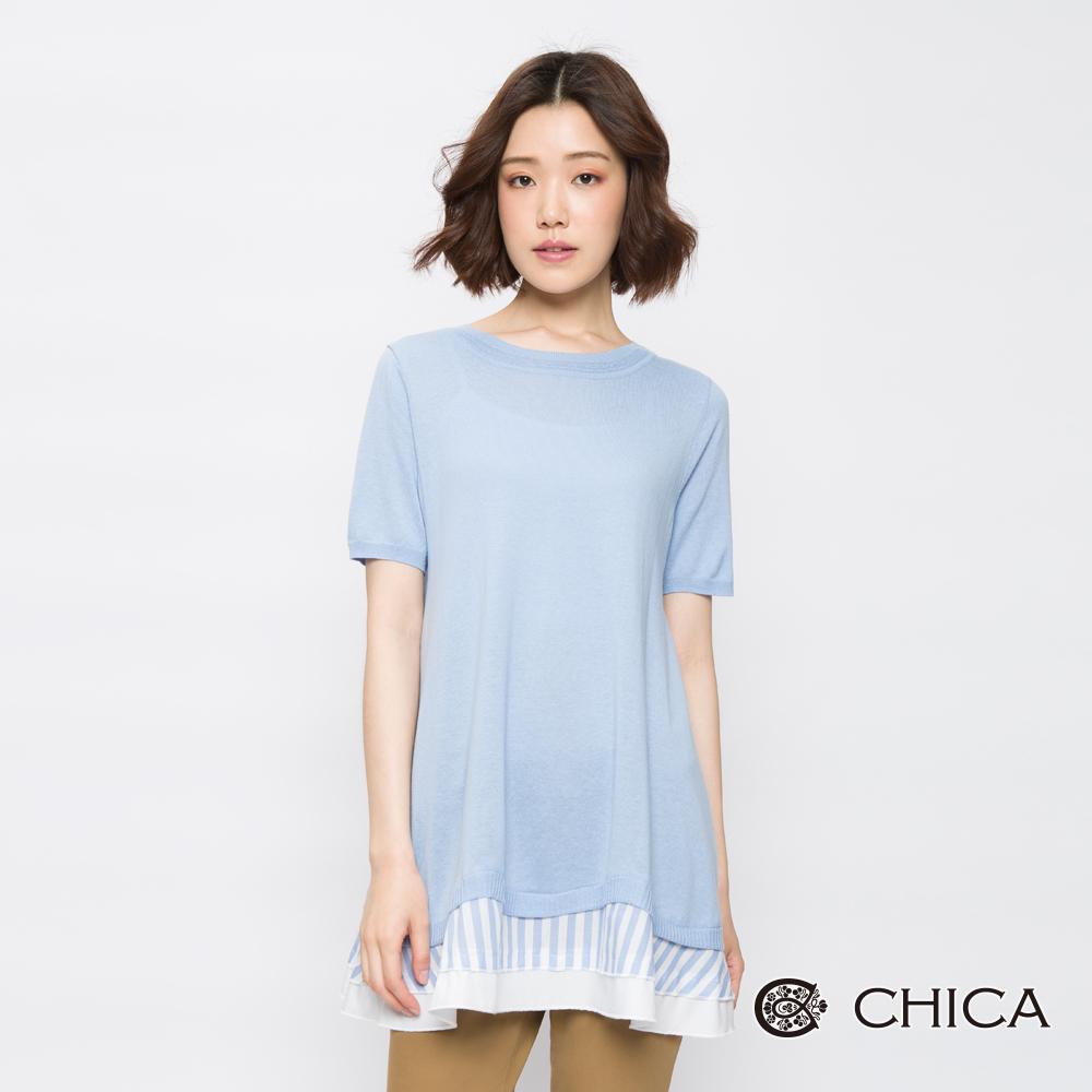 CHICA 清新秀雅異材質拼接長版針織衫(2色)