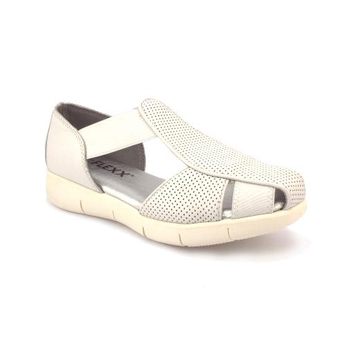 The FLEXX - ROW T/VACCHETTA MIX  白色 洞洞鞋面 側彈性帶 牛皮 涼鞋(C178_26_481000)