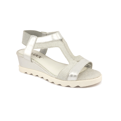 The FLEXX - LITLE TONY/GRAFFITI MILOS  銀/白 T型撞色鞋面  後鬆緊帶 牛皮 楔型涼鞋(C354_15_150434)