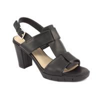 The FLEXX - GIRLY/VACCHETTA  黑色 T型鞋面 踝帶設計  牛皮 粗跟涼鞋(C608_14_459999)