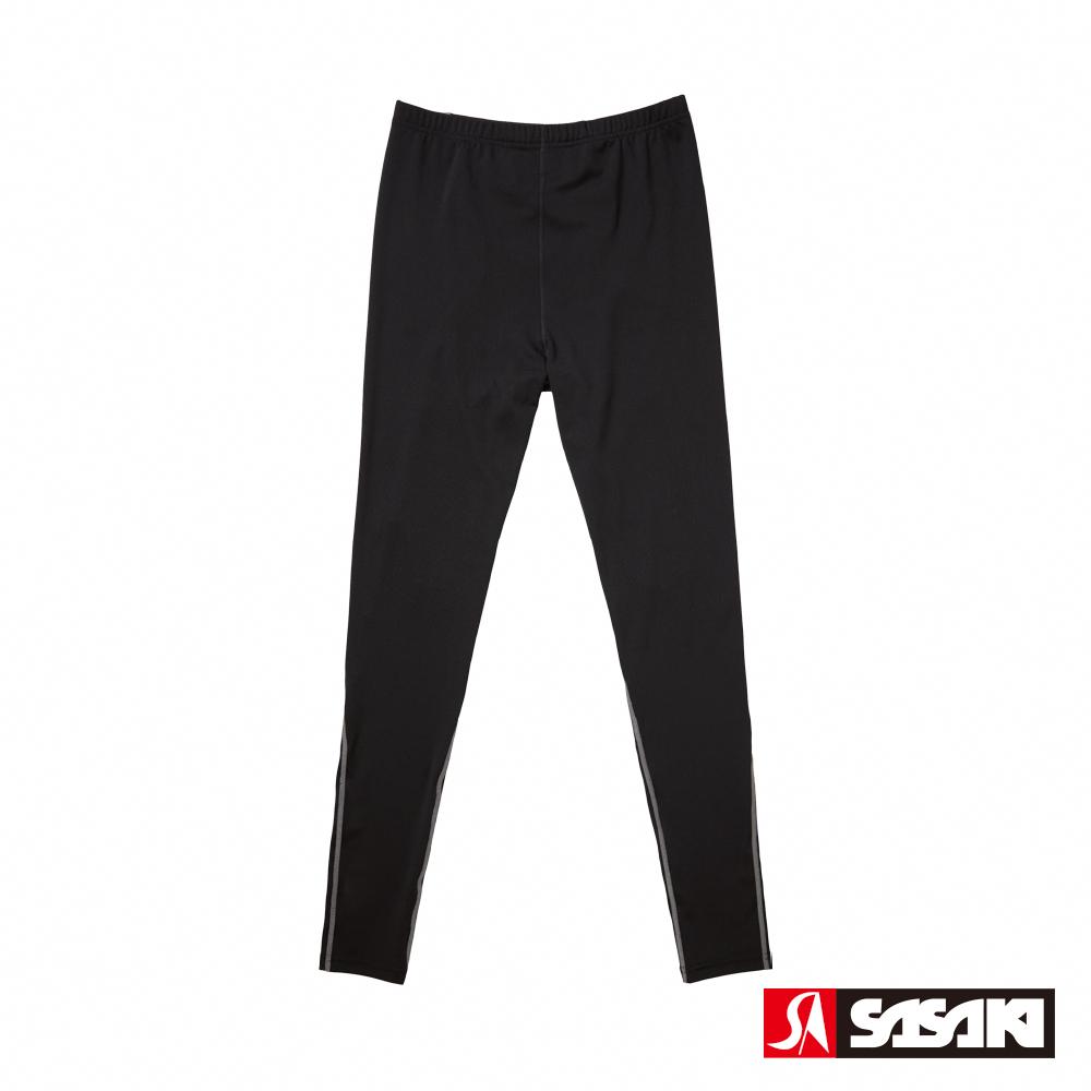 SASAKI 高彈力機能性田徑緊身長褲-男-黑/銀灰