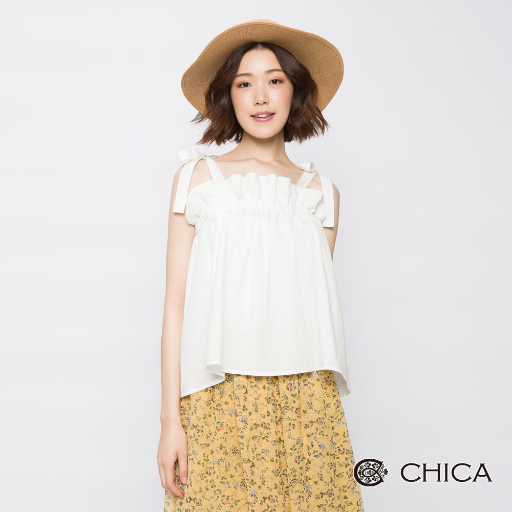 CHICA  細肩綁帶平口上衣(2色)