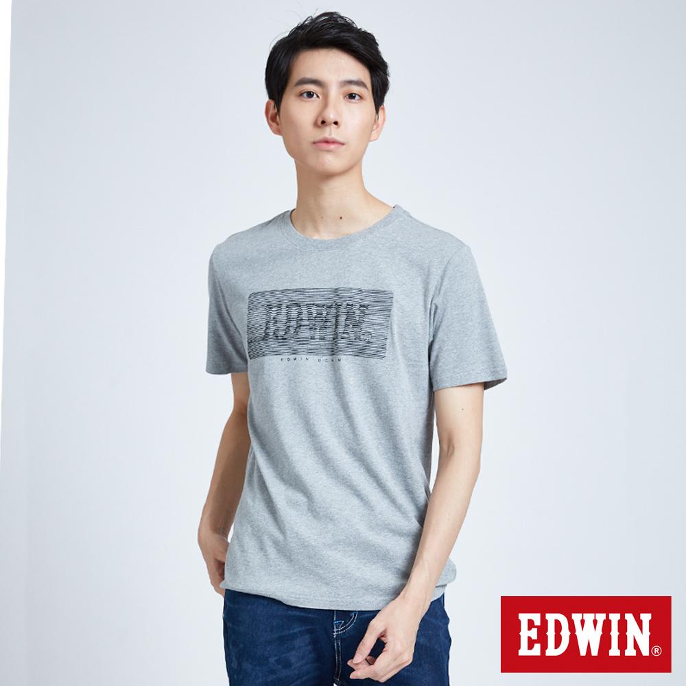 EDWIN 波紋LOGO短袖T恤-男-麻灰