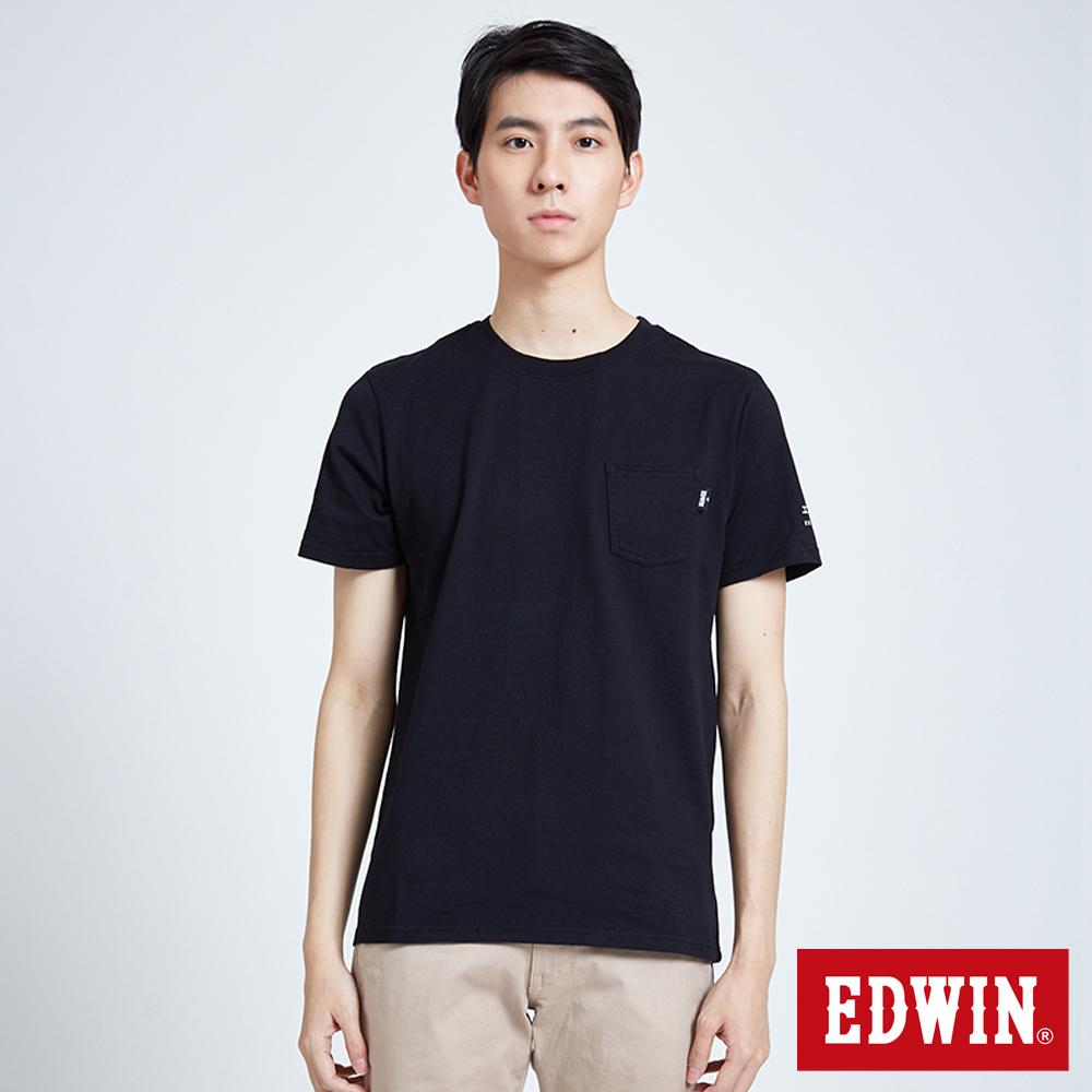 EDWIN 東京系列 BASIC POCKET短袖T恤-男-黑
