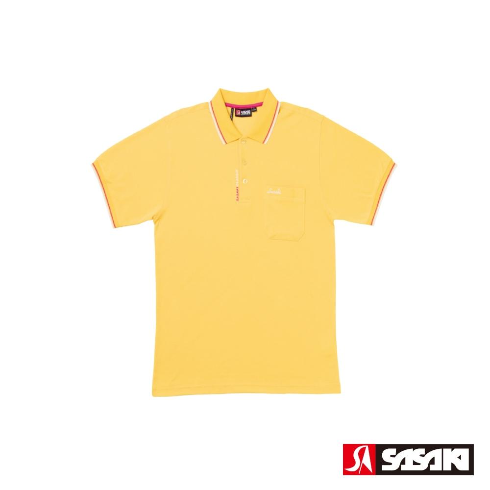 SASAKI 棉質吸濕排汗功能運動休閒短衫-男-巴西黃