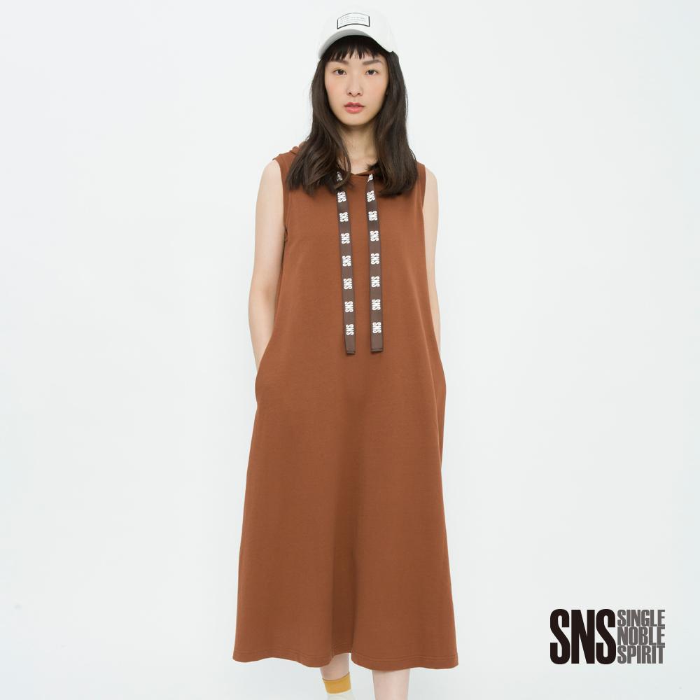 SNS 潮流風味品牌抽繩連帽輕透洋裝(2色)