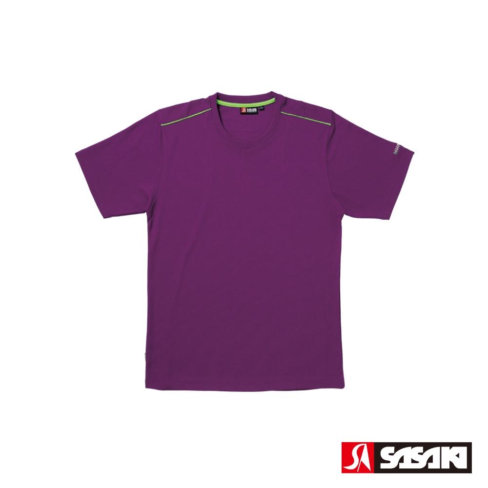 SASAKI 長效性吸濕排汗功能圓領短衫-男-深葡萄紫/豔綠