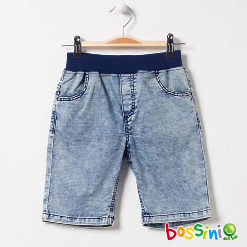 bossini男童-牛仔休閒短褲04靛藍(品特)