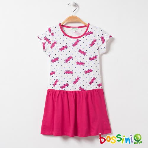 bossini女童-印花連身洋裝08亮桃紅(品特)