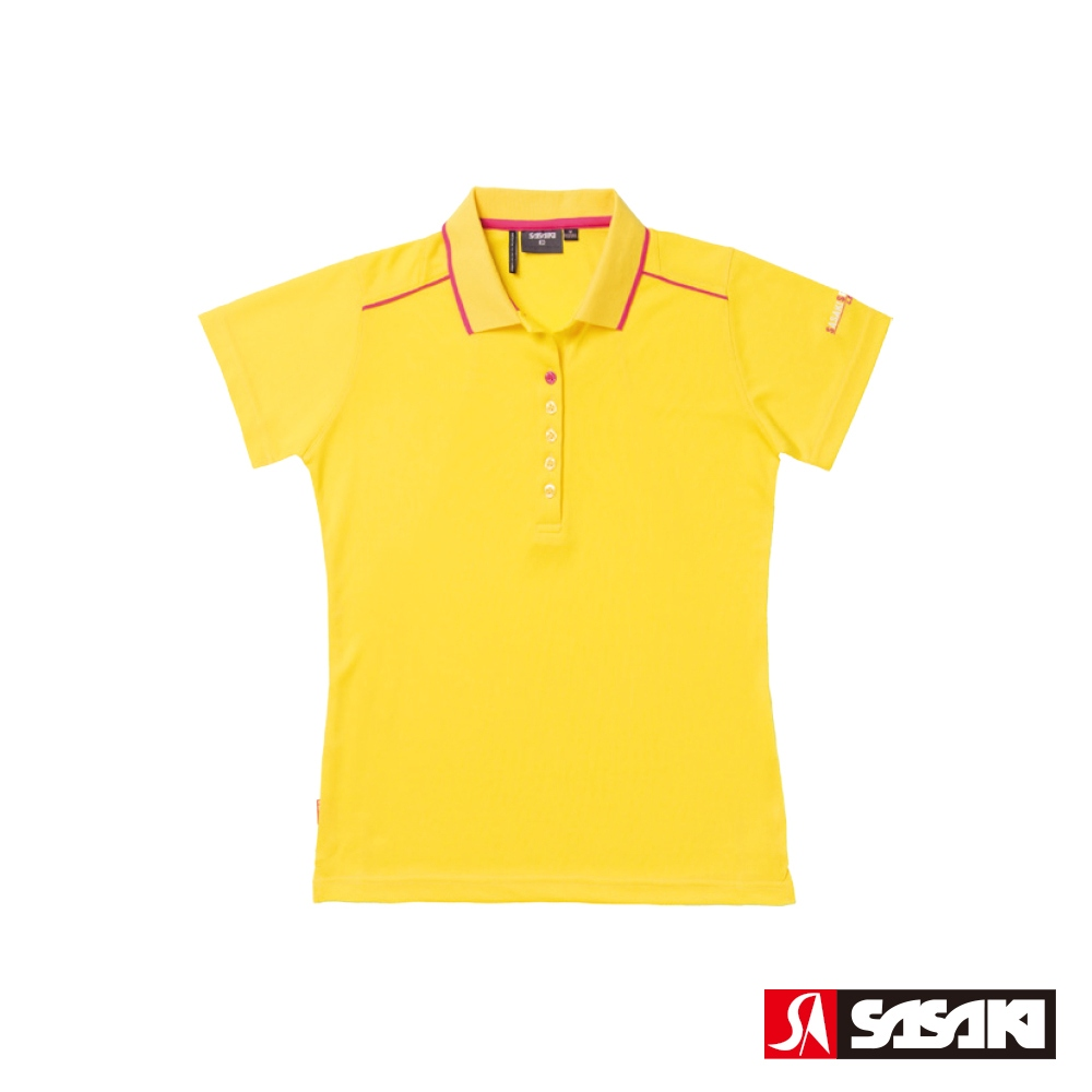 SASAKI 長效吸排功能休閒POLO短衫-女-亮黃/中桃紅